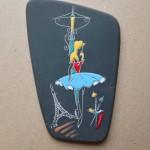 Wandtegel, gesigneerd 'Handarbeit Keto Keramik, Paris 351, VWa, 20cm (h)