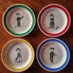 1964 (20), 4 bordjes uit servies 'Family Gay', 16 cm (Ontwerp Nina Mathesson)