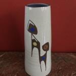 Vaasje, 17 cm, met blauw afgewerkte binnenkant